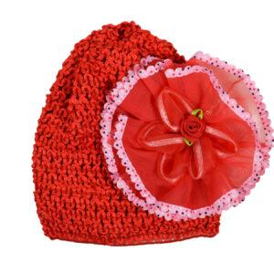 Flower Applique Baby Crochet Caps - Red-0