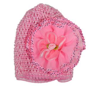 Flower Applique Baby Crochet Caps - Pink-0