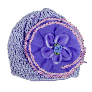 Flower Applique Baby Crochet Caps - Purple-0