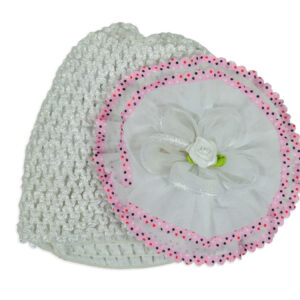 Flower Applique Baby Crochet Caps - White-0