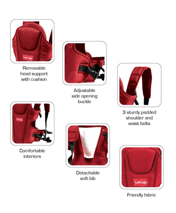 LuvLap 3 Way Baby Carrier Galaxy (18202) - Red-14557