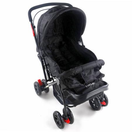 LuvLap Starshine Baby Stroller cum Pram (18305) - Black-0