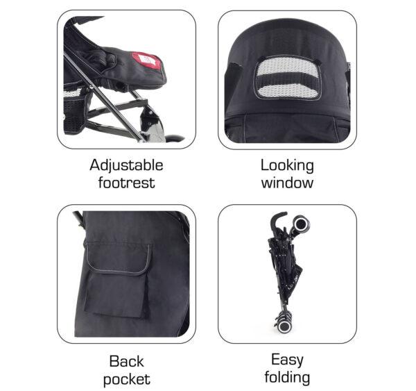 LuvLap City Baby Buggy Cum Stroller (18277) - Black-14966