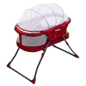 LuvLap Starshine Bassinet With Mosquito Net - Red-0