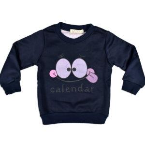 Smiley Print Full Sleeve Infant Sweat Shirt - Blue-0
