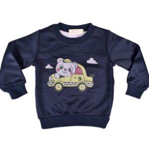 Car Print Full Sleeve Infant Sweat Shirt - Blue-0