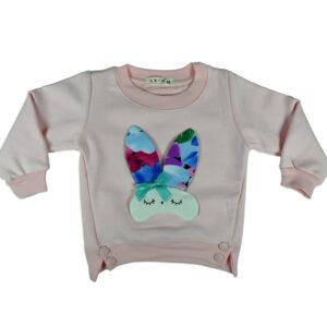 Rabbit Applique Sweat Shirt - Pink-0