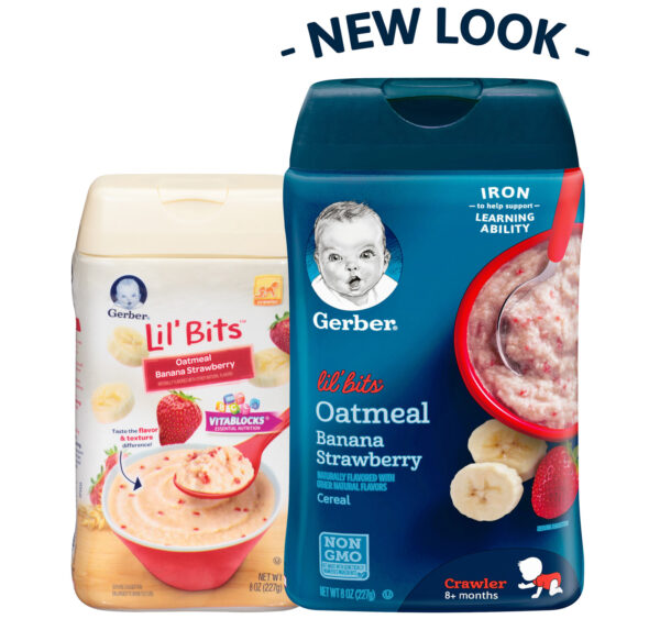 Gerber Lil' Bits Oatmeal Banana Strawberry Baby Cereal - 227 gm-22355