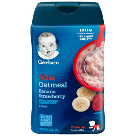 Gerber Lil' Bits Oatmeal Banana Strawberry Baby Cereal - 227 gm-0
