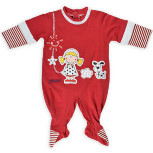 Chicco Full Sleeve Footed Romper - Red-0