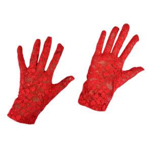 Girls Fancy Gloves - Red-0