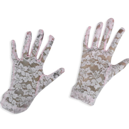 Girls Fancy Net Gloves - Pink-0