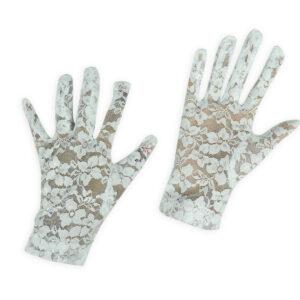 Girls Fancy Net Gloves - White-0