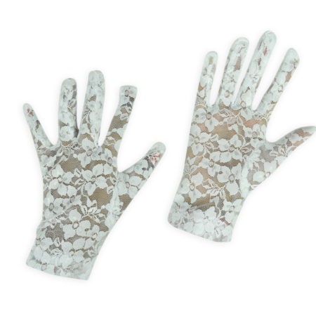Girls Fancy Net Gloves - White-0