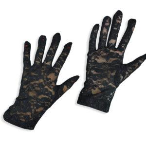 Girls Fancy Net Gloves - Black-0