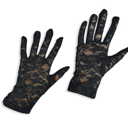 Girls Fancy Net Gloves - Black-0
