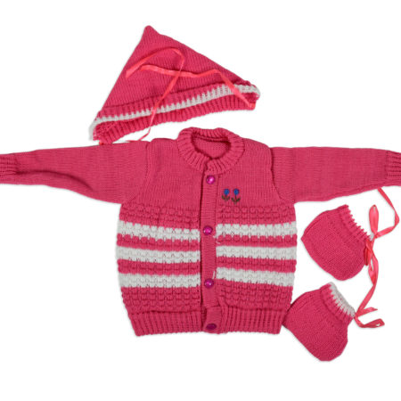 New Born Knitted Sweater With Cap & Booties - Magenta-0
