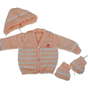 New Born Knitted Sweater With Cap & Booties - Orange-0