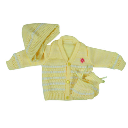 New Born Knitted Sweater With Cap & Booties - Yellow-0