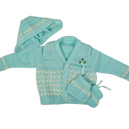 New Born Knitted Sweater With Cap & Booties - Sky Blue-0