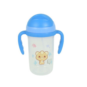 Soft Straw Sipper With Handle 350ml - Blue-0