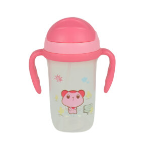Soft Straw Sipper With Handle 350ml - Pink-0
