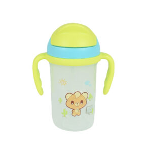 Soft Straw Sipper With Handle 350ml - Blue/Green-0
