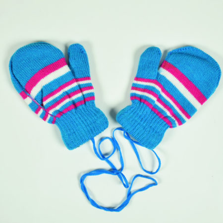 Knitted Woolen Hand Gloves, Mittens - Sky Blue-0