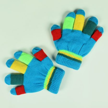 Knitted Woolen Hand Gloves, Mittens For Baby - Stripped Print-0