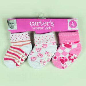 Carters Wokar Kids 3 Pairs Of Socks - Pink-0