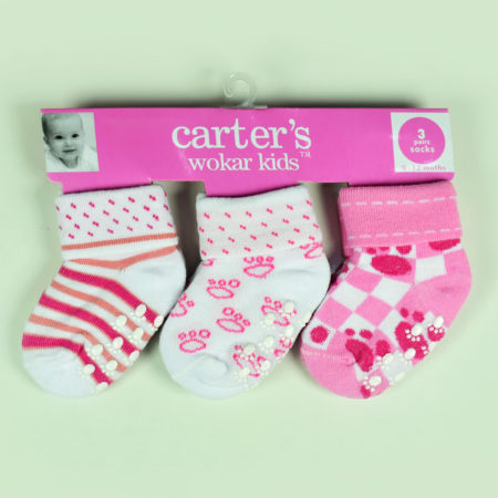 Carters Wokar Kids 3 Pairs Of Socks - Pink-0