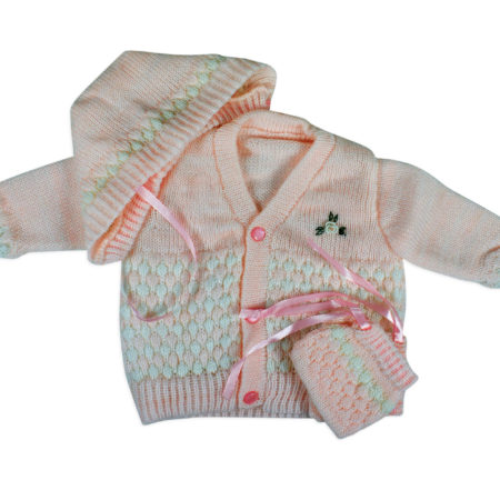 New Born Knitted Sweater With Cap & Booties - Pink-0