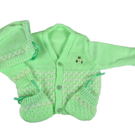 New Born Knitted Sweater With Cap & Booties - Green-0