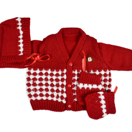 New Born Knitted Sweater With Cap & Booties - Red-0