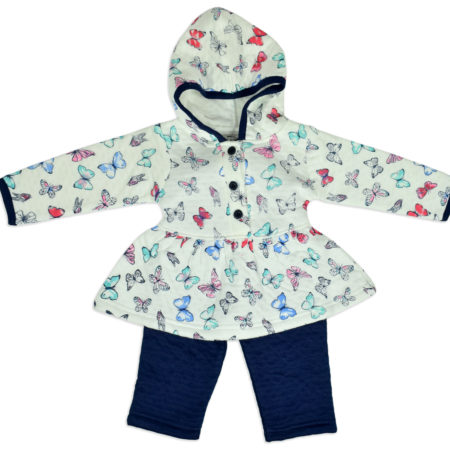 Frock Style Hooded Top & Bottom Winter Set - White/Blue-0