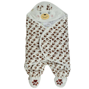 Baby Warm Quilted Wrapper - Brown/White-0