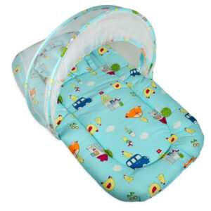 Gadda Set With Mosquito Net - Mini Cars Print-0