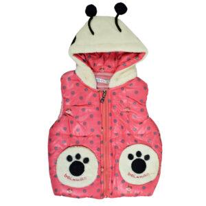 Baby Sleeveless Hooded Jacket - Peach-0