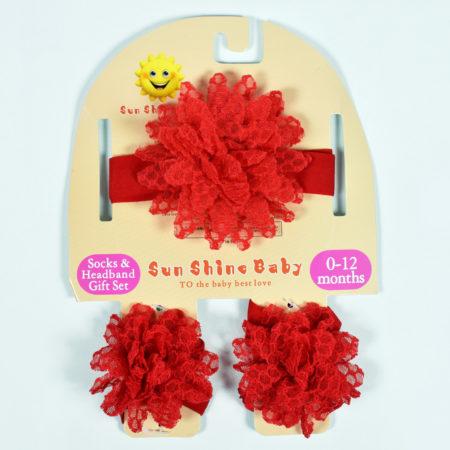 Socks & Headband Baby Barefoot - Red-0