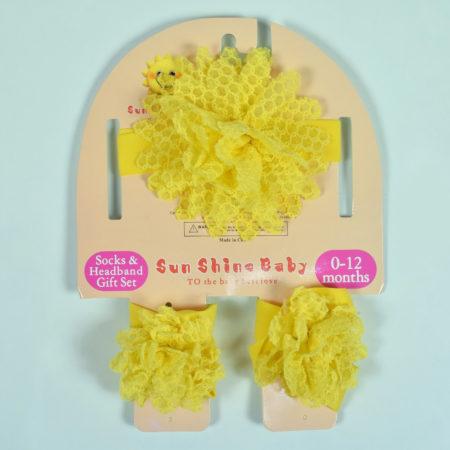 Socks & Headband Baby Barefoot - Yellow-0
