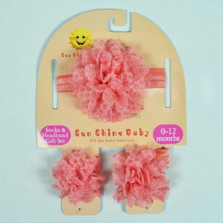 Socks & Headband Baby Barefoot - Peach-0