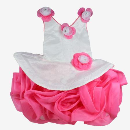 Baby Party Wear Fancy Frock - Pink/White-0