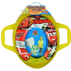 Cushioned Potty Training Seat With Handle (Cars) - Yellow-0