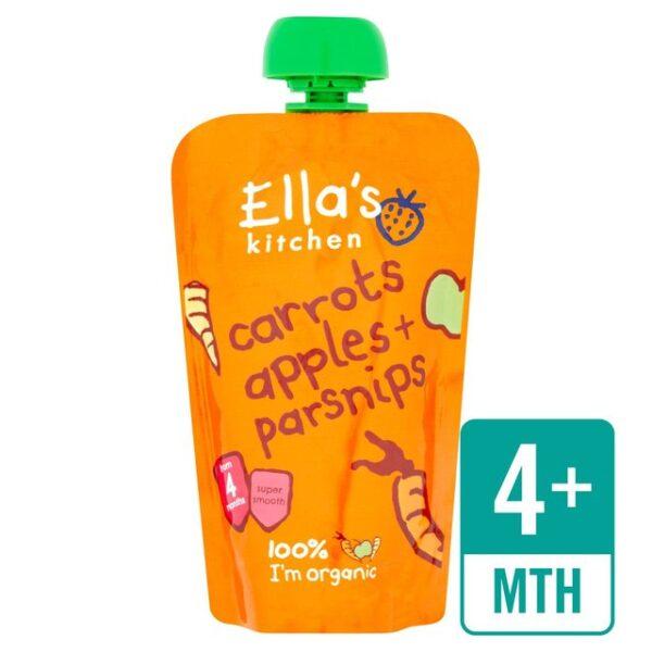 Ella's Kitchen Organic Carrots, Apples + Parsnips 4M+ - 120g -0