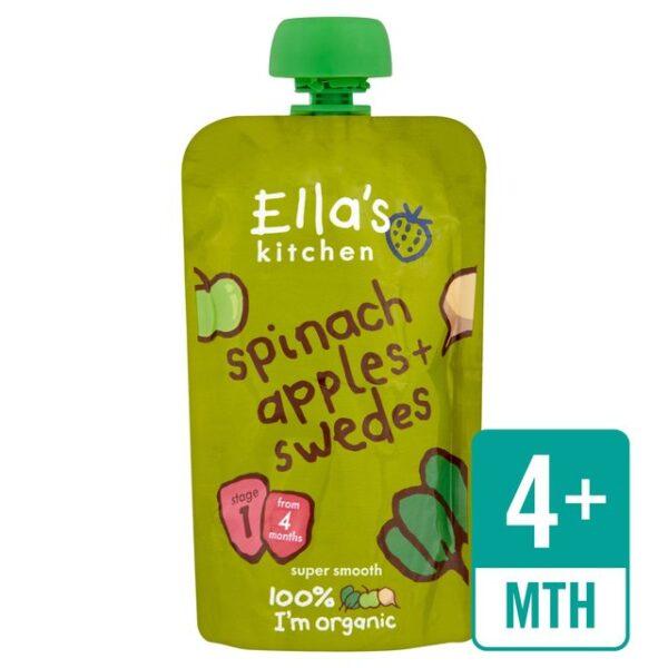 Ella's Kitchen Organic Spinach, Apples + Swedes (4M+) - 120gm-0
