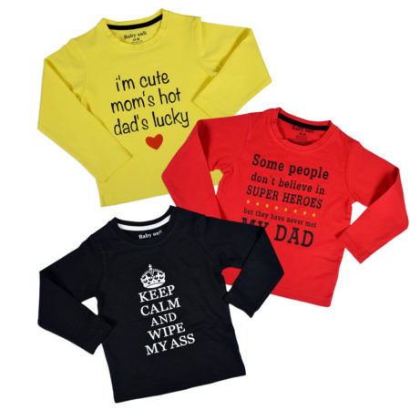 Baby Onli Funny Slogan T-shirts (6-24 M) - Pack of 3-0