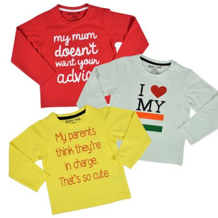 Baby Onli Love Slogan T-shirts (6-24 M) - Pack of 3-0