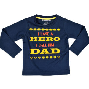 "Baby Onli Funny Slogan (6-24 M) ""I have a Hero i call him Dad"" (Blue)-0"