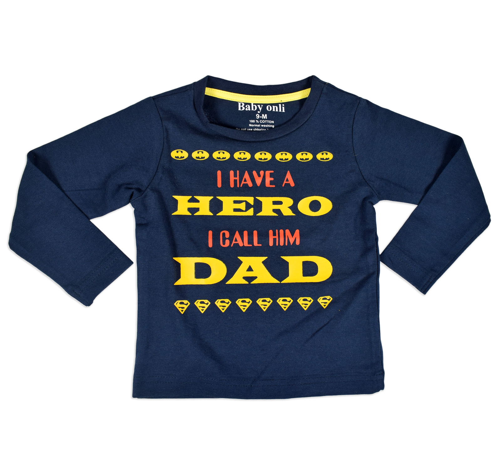 """Baby Onli Funny Slogan (6-24 M) """"I have a Hero i call him Dad"""" (Blue)-0"""