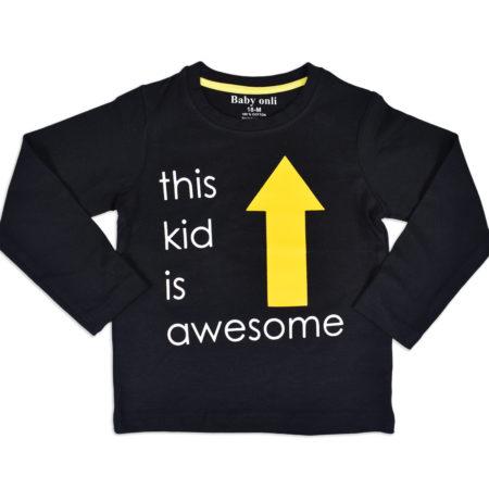 "Baby Onli Funny Slogan Cotton TShirt (6-24 M) ""This kid is awesome"" - Black-0"